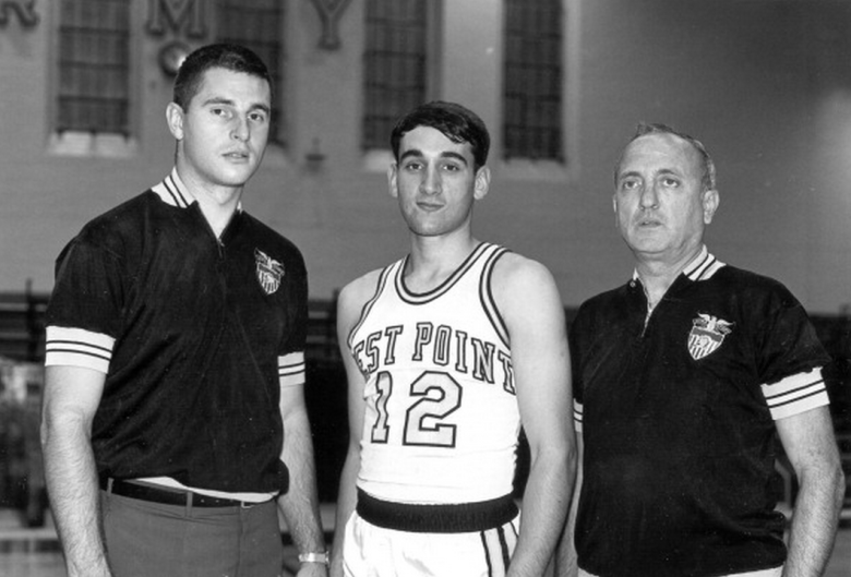 Mike Krzyzewski #12 of the Army Black Knights poses with head coach Bobby Knight circa 1966 in West Point, New York. (Getty)