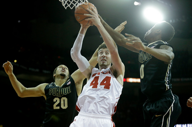 Frank Kaminsky #44 of the Wisconsin Badgers pull down a rebound during the first half against the Purdue Boilermakers at Kohl Center on January 07, 2015 in Madison, Wisconsin. (Getty)