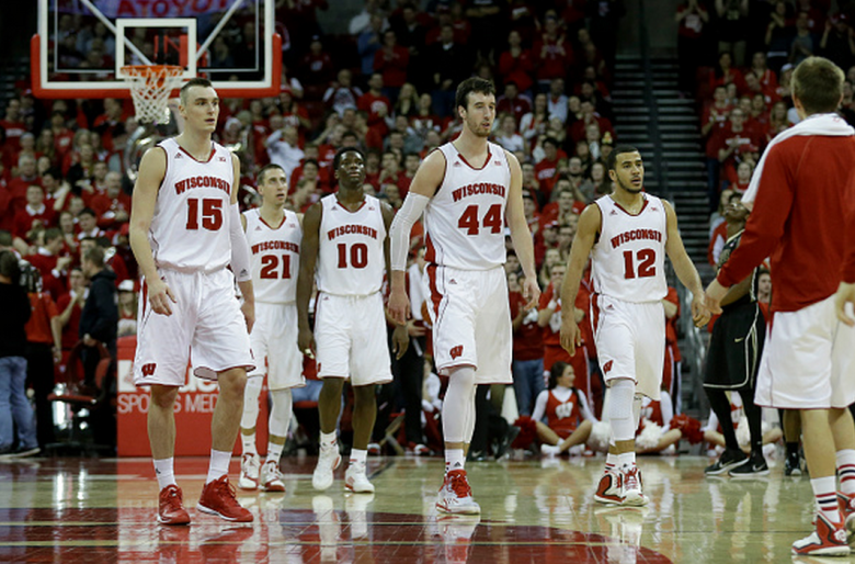 Frank Kaminsky #44 of the Wisconsin Badgers along with Sam Dekker #15, Traevon Jackson #12, Nigel Hayes #10, and Josh Gasser #21 of the Purdue Boilermakers during the second half against Wisconsin Badgers at Kohl Center on January 07, 2015 in Madison, Wisconsin. (Getty)