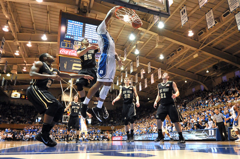 Jahlil Okafor #15 of the Duke Blue Devils dunks against the Army Black Knights during their game at Cameron Indoor Stadium on November 30, 2014 in Durham, North Carolina. Duke defeated Army 93-73. (Getty)