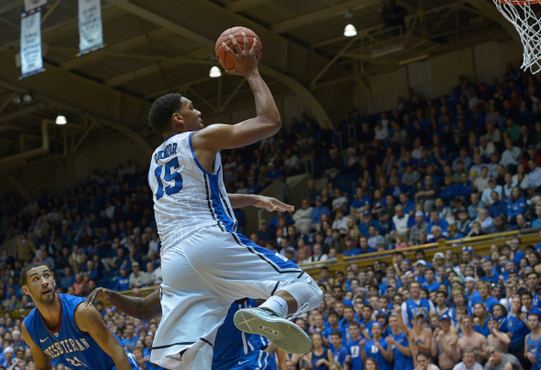 Jahlil Okafor #15 of the Duke Blue Devils against the Presbyterian Blue Hose during their game at Cameron Indoor Stadium on November 14, 2014 in Durham, North Carolina. (Getty)