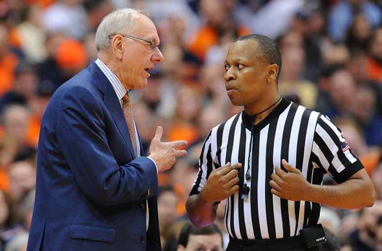 Head coach Jim Boeheim of the Syracuse Orange talks with referee Michael Stephens during the second half of the game against the Louisville Cardinals at the Carrier Dome on February 18, 2015 in Syracuse, New York. Syracuse defeated Louisville 69-59. (Getty)