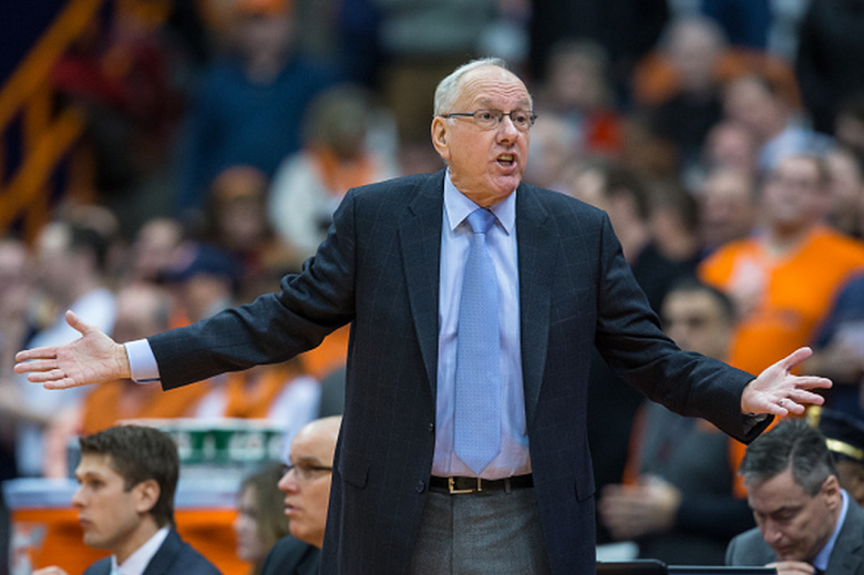 Head coach Jim Boeheim of the Syracuse Orange reacts to play between the Syracuse Orange and the Boston College Eagles on January 20, 2015 at The Carrier Dome in Syracuse, New York. Syracuse Defeats Boston College 69-61. (Getty)