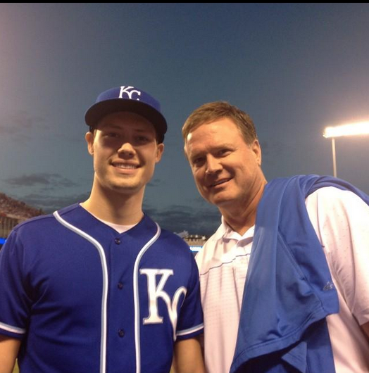"Kansas Jayhawks Head Coach Bill Self posted this picture with his son Tyler on Twitter with the caption: ""What a night at the K. Nothing better than baseball with your son. #TakeTheCrown"" (Twitter/@CoachBillSelf)"