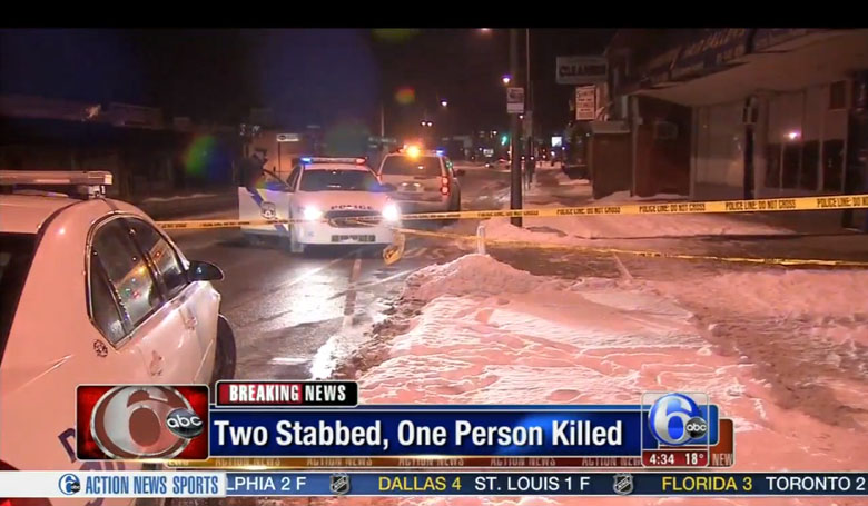 Police on the scene at the stabbing. (Screengrab via ABC Philadelphia)