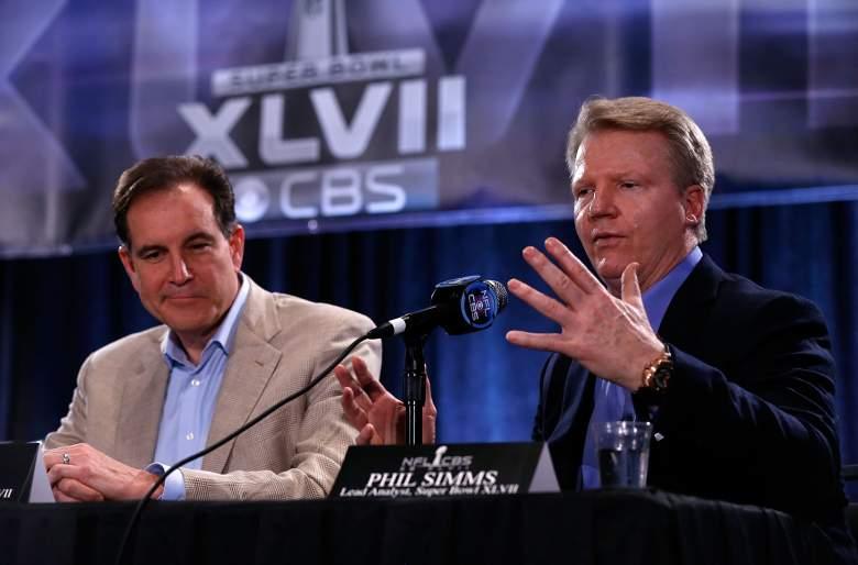 CBS Sports announcers Jim Nantz (L) and Phil Simms speak with the media at a CBS Super Bowl XLVII Broadcasters Press Conference. (Getty)