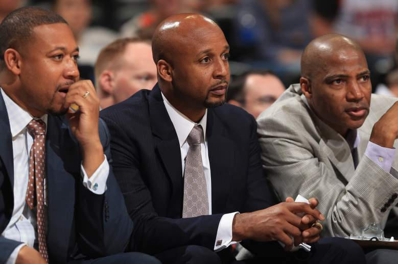 Melvin Hunt, left, is the Nuggets interim coach. (Getty)