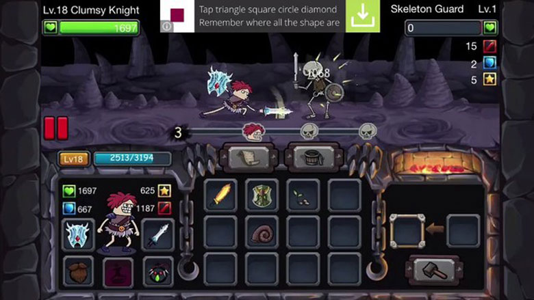 Clumsy Knight vs. Skeletons Tips