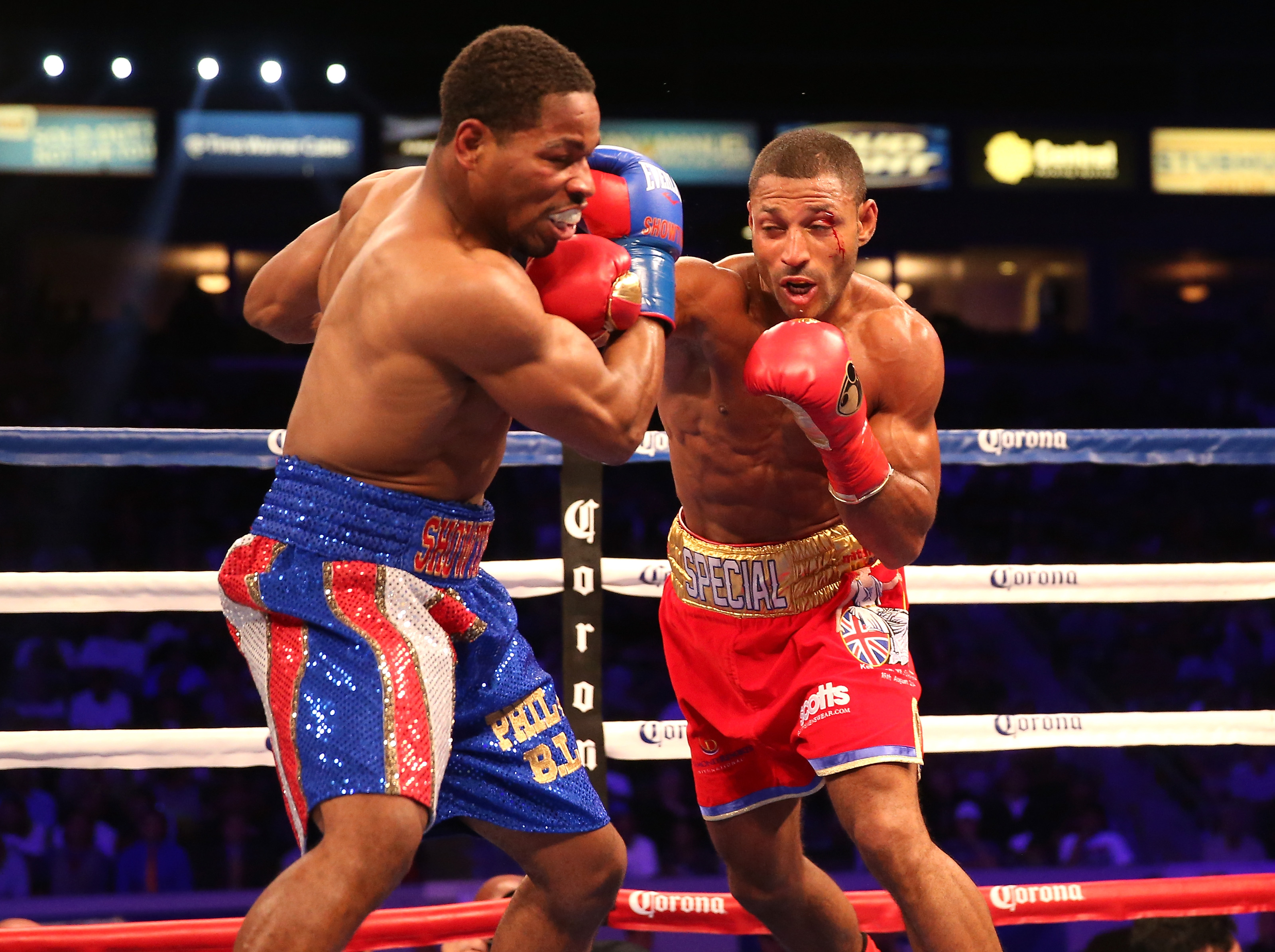 Kell Brook throws a punch at Shawn Porter (Getty)