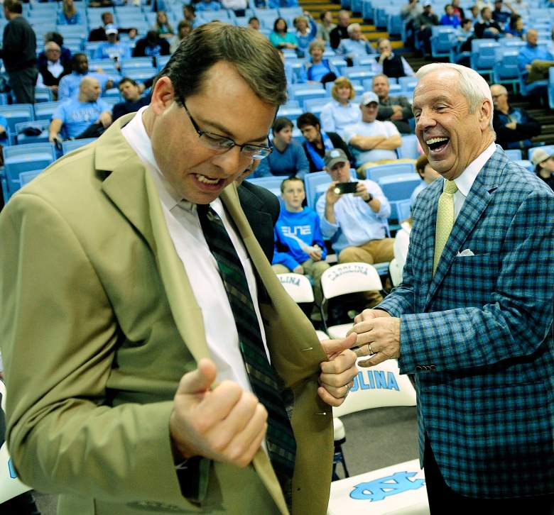 Haase with North Carolina coach Roy Williams. (Getty)