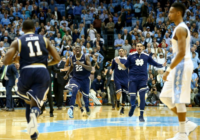 Notre Dame celebrating a 71-70 victory over North Carolina back in January 2015. (Getty)