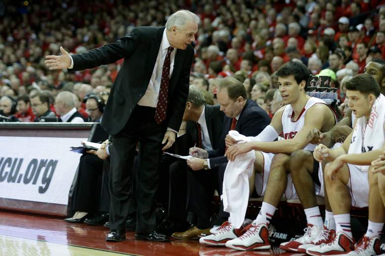 Bo Ryan talks to Duje Dukan (No. 13) on the bench. (Getty)