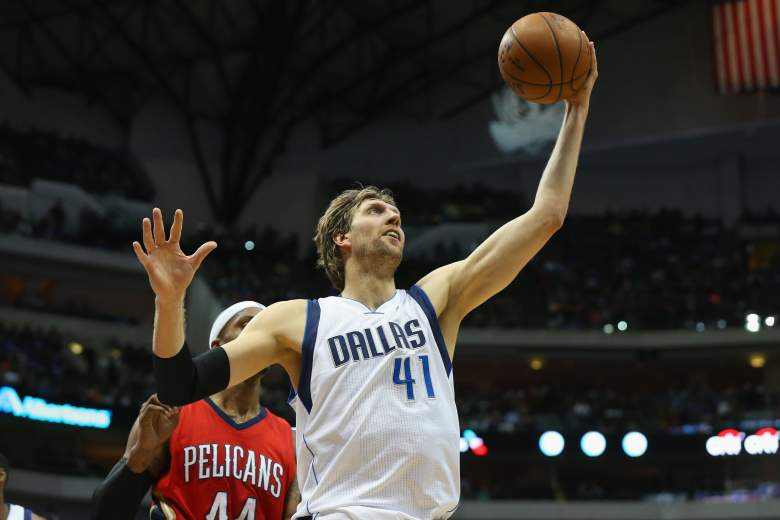 Dirk Nowitzki and the Mavericks head to Portland for a Thursday night meeting with the Trail Blazers. (Getty)