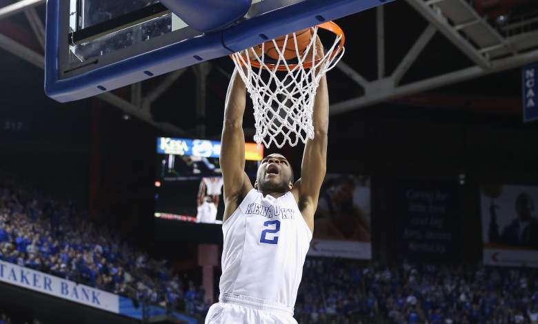 Aaron Harrison and Kentucky are the favorites to win the NCAA Tournament, according to the sportsbooks. (Getty)