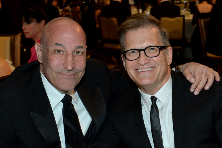 Simon pictured with Drew Carey in 2013. (Getty)