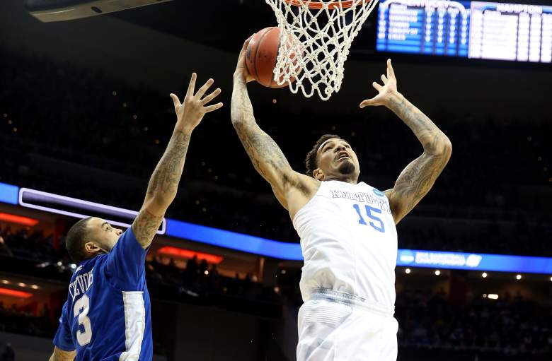 Kentucky's Willie Cauley-Stein goes up for a shot during an NCAA Tournament game vs. Hampton on Thursday. (Getty)