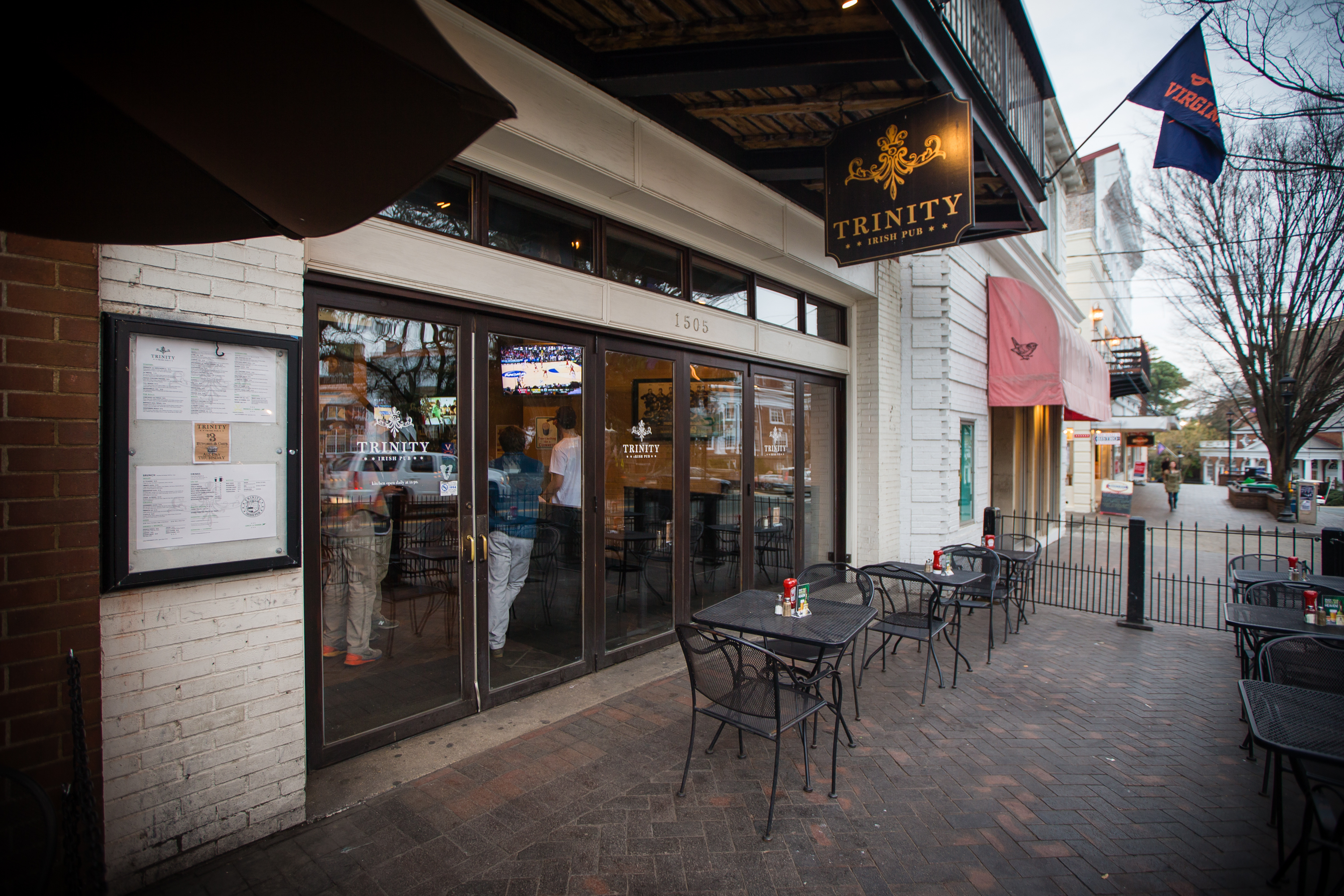 The Trinity Irish Pub is shown March 19, 2015 in Charlottsville, Virginia. Martese Johnson is the black University of Virginia student whose face was bloodied during his arrest on March 18 outside the pub. (Getty)