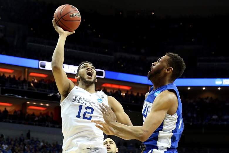 Karl-Anthony Towns goes up for a shot during an NCAA Tournament game. (Getty)
