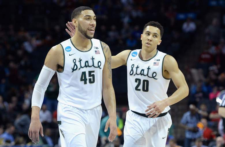 Denzel Valentine (45), Travis Trice and Michigan State are 4-0 against the spread in the NCAA Tournament. (Getty)