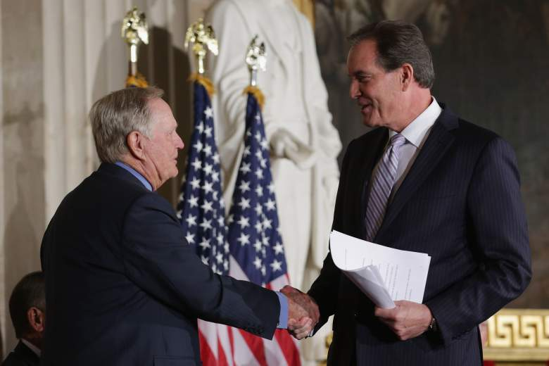 CBS Sports Commentator Jim Nantz (R) congratulates Golf legend Jack Nicklaus during his Congressional Gold Medal deremony in the U.S. Capitol Rotunda March 24, 2015 in Washington, DC. (Getty)