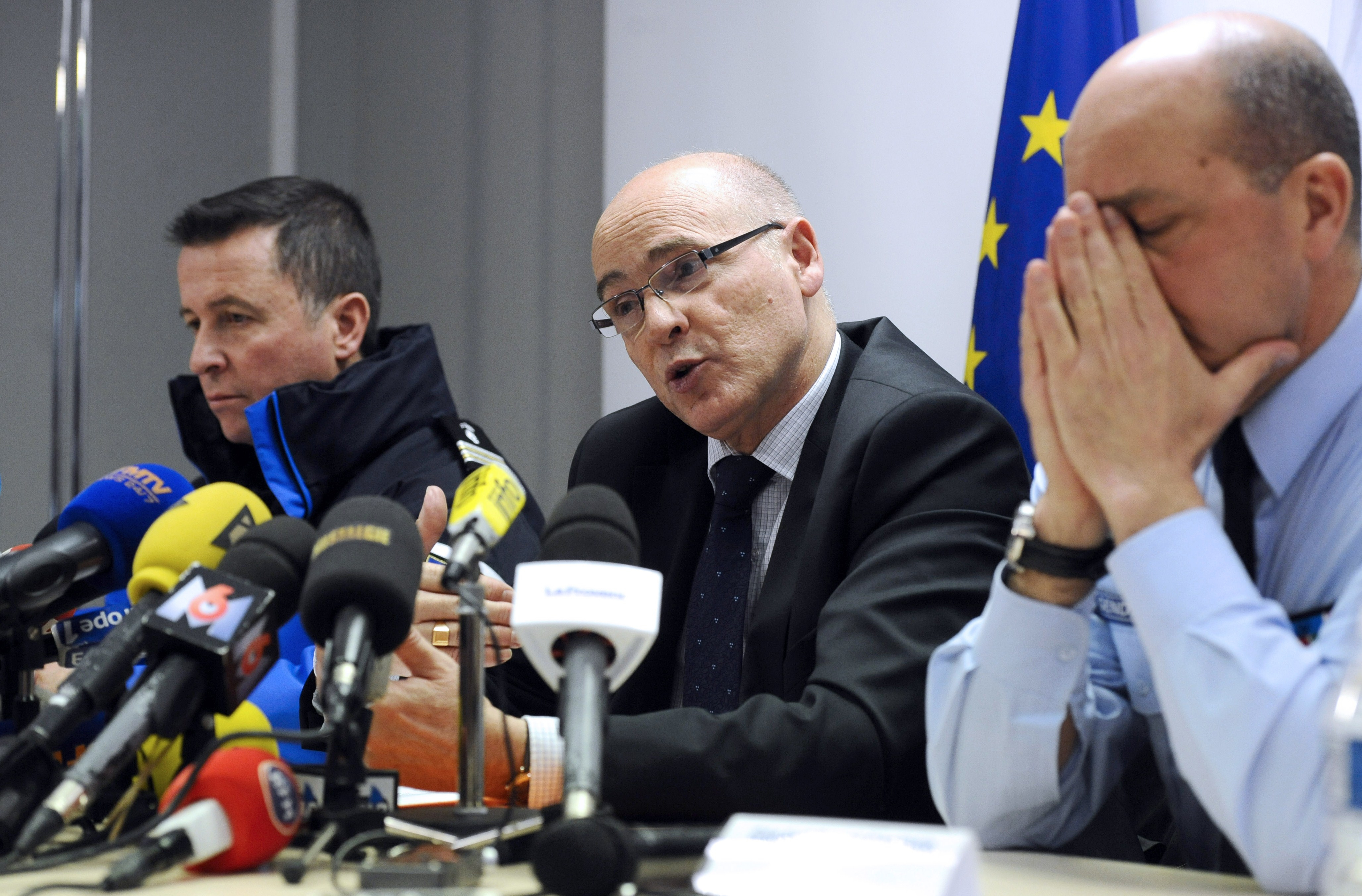 French prosecutor of Marseille Brice Robin (C), flanked by General David Galtier (R), speaks to the press on March 26, 2015 in Marignane airport near the French southern city of Marseille.  (Getty)