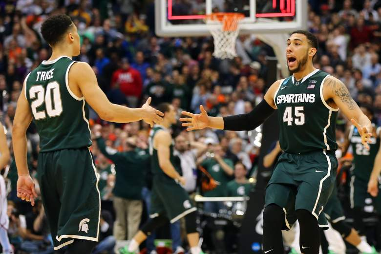 Denzel Valentine (45), Travis Trice and Michigan State are a win away from the Final Four. (Getty)