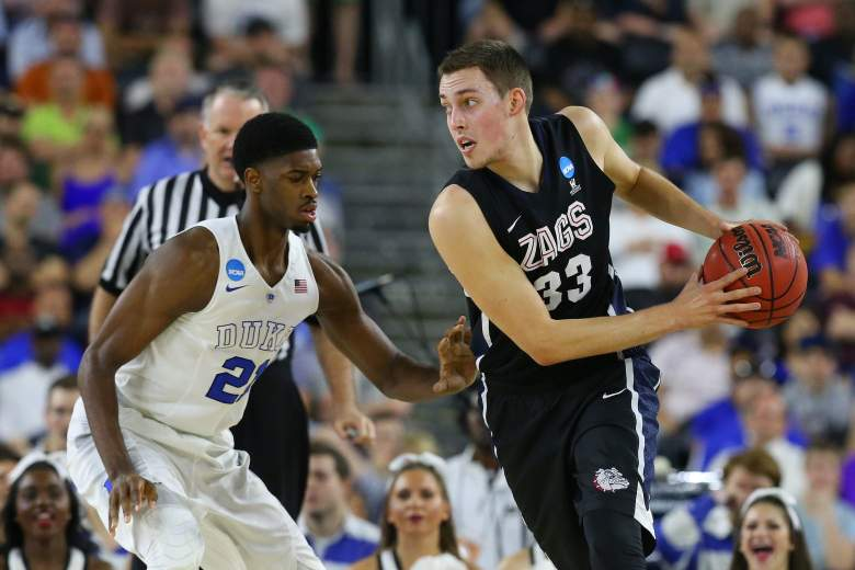 Gonzaga's Kyle Wiltjer looks to drive on Duke's Amile Jefferson Sunday in their Elite Eight game. (Getty)