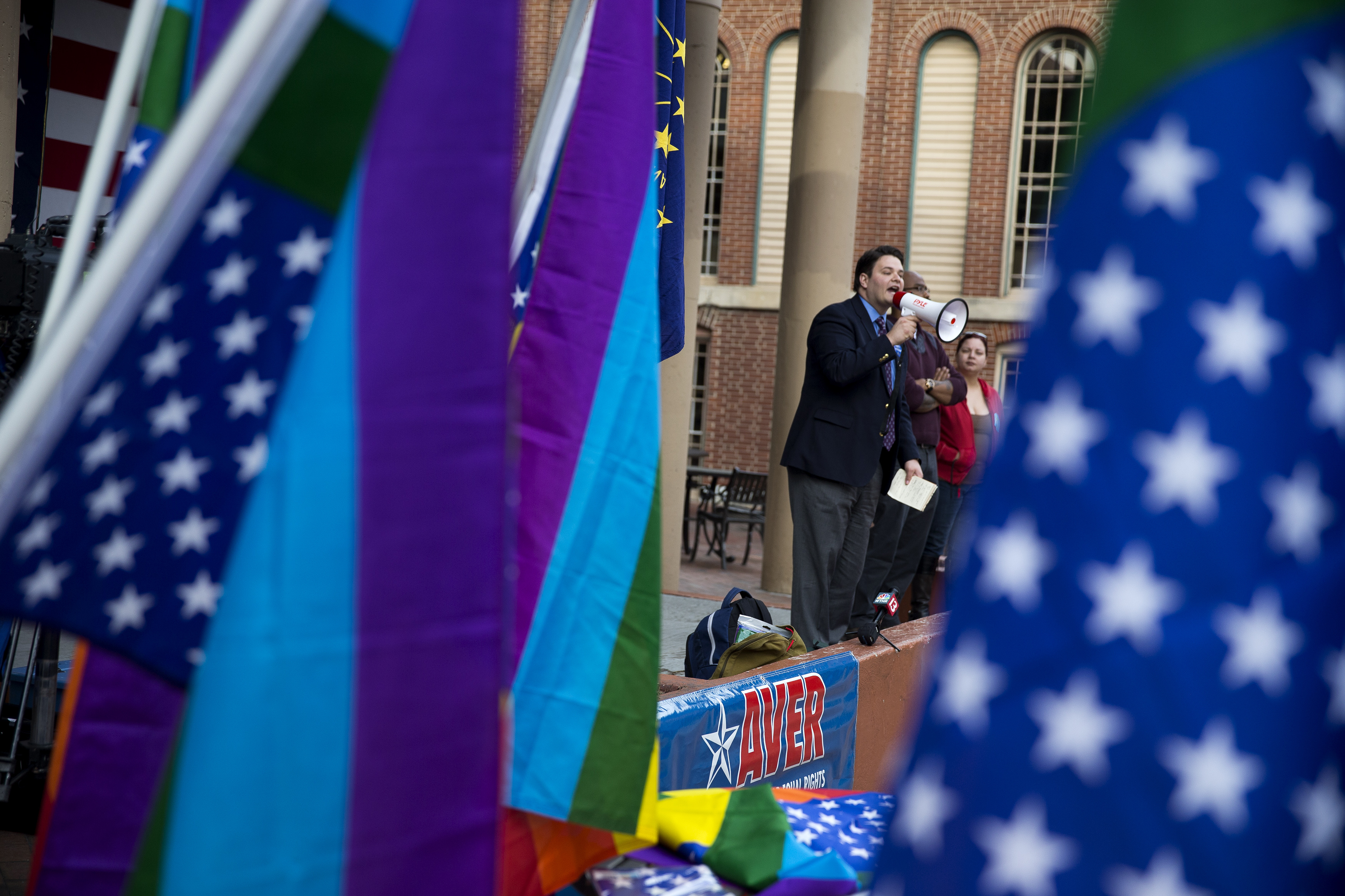 Demonstrator JD Ford speaks outside the City County Building on March 30, 2015 in Indianapolis, Indiana. (Getty)