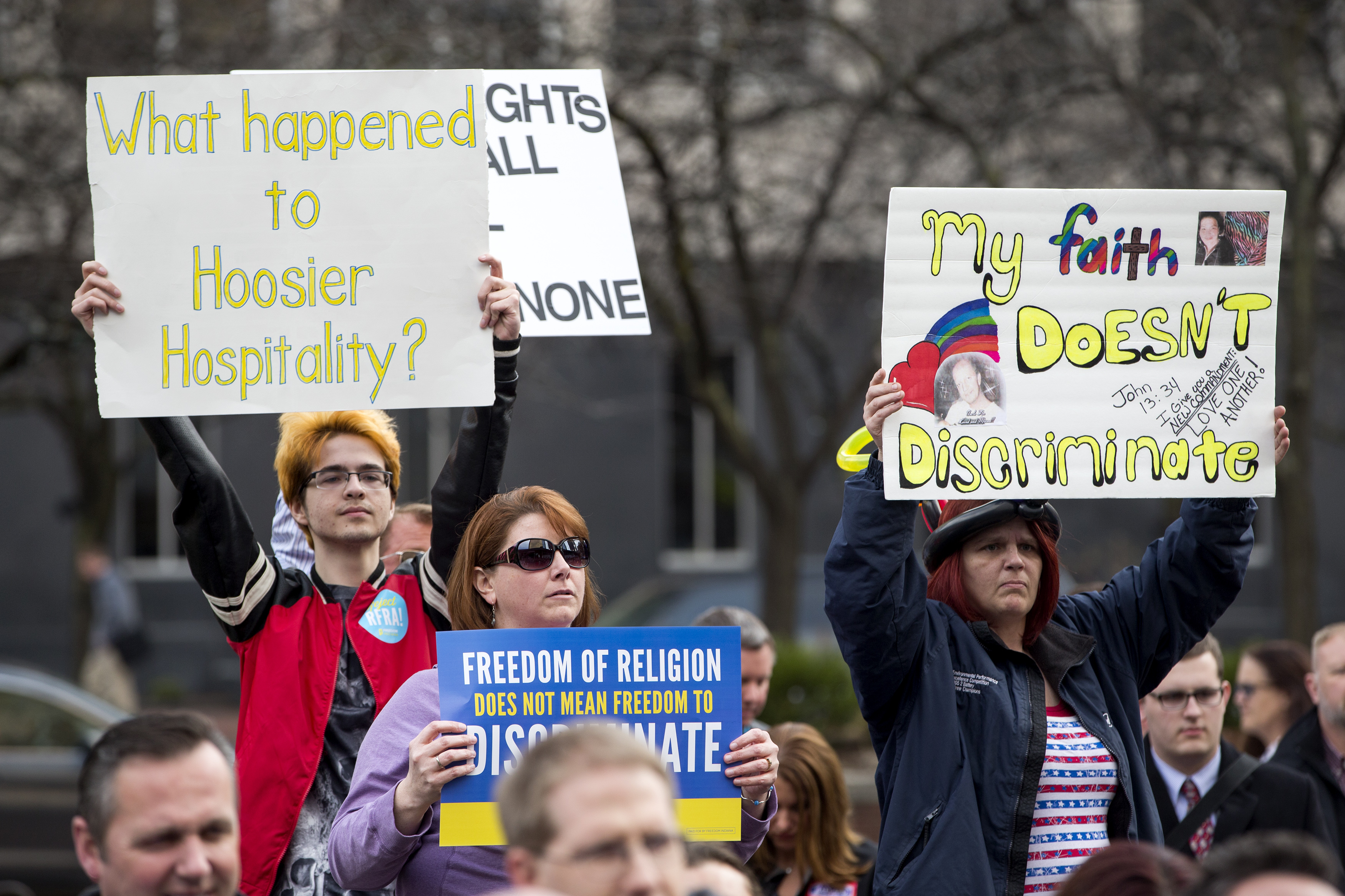 Demonstrators  gather outside the City County Building on March 30, 2015 in Indianapolis, Indiana. The group called on the state house to roll back the controversial Religious Freedom Restoration Act. (Getty)