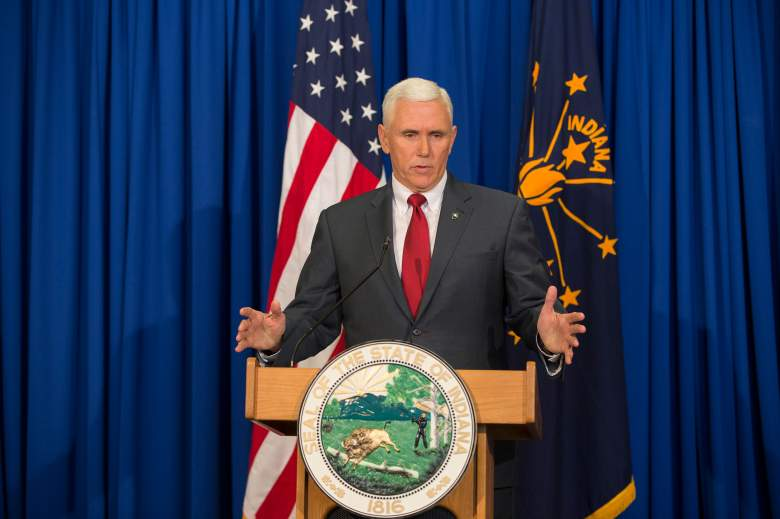 Gov. Mike Pence speaks during a press conference March 31, 2015. (Getty)