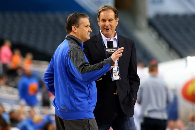 Jim Nantz with Kentucky Wildcats head coach John Calipari. (Getty)