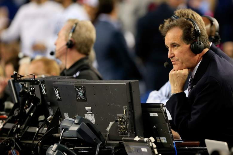 Jim Nantz broadcasting the 2014 National Championship Game between the Connecticut Huskies and Kentucky Wildcats at AT&T Stadium in Arlington, Texas. (Getty)