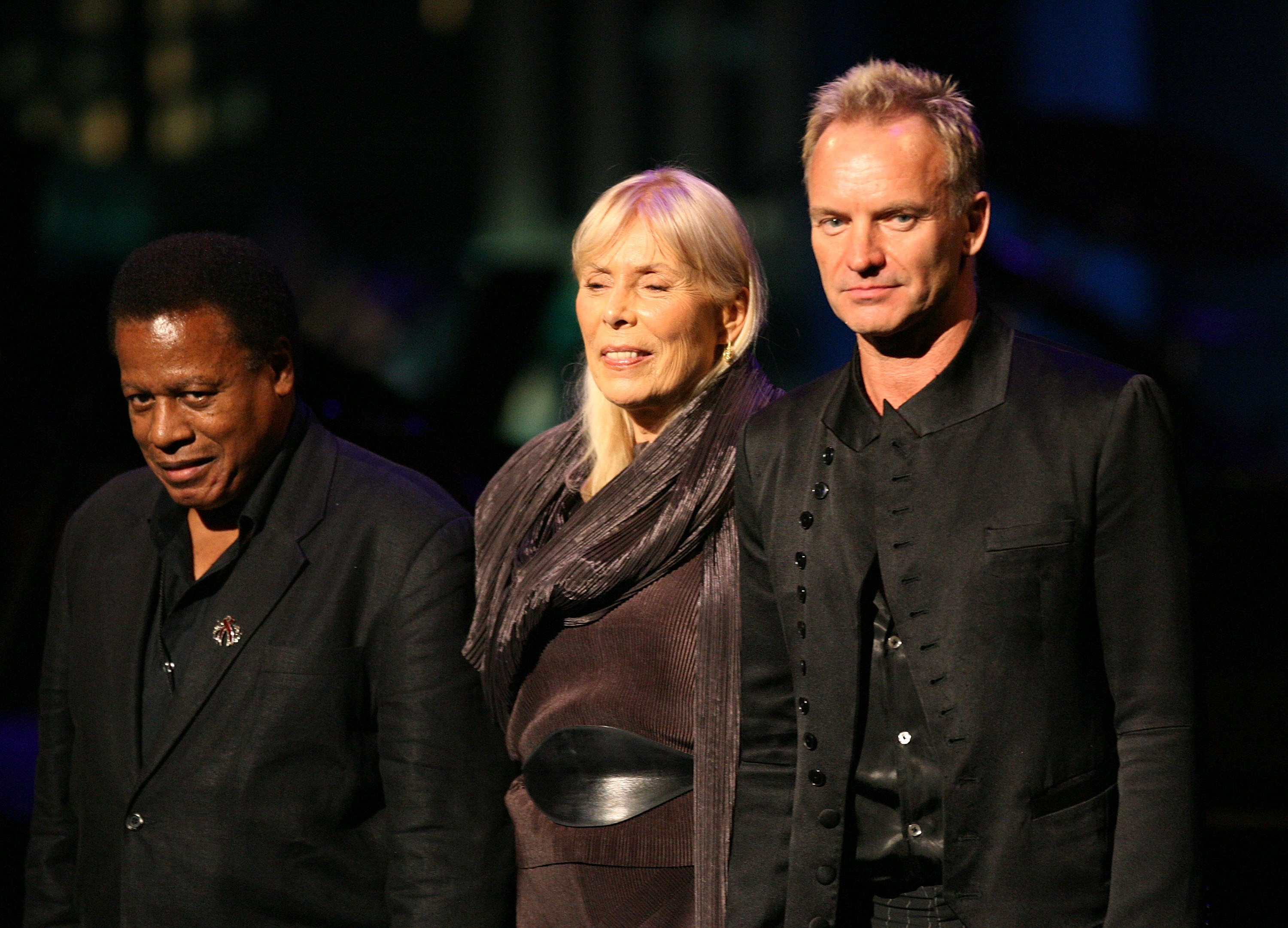 Recording artists Wayne Shorter, Joni Mitchell and Sting speak during the Thelonious Monk Jazz Tribute Concert For Herbie Hancock at the Kodak Theatre on October 28, 2007 in Los Angeles,  (Getty)