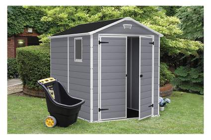 gray outdoor storage shed
