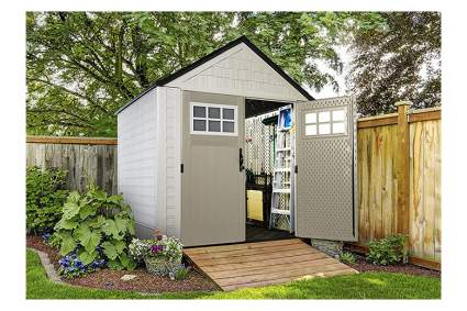 tan resin garden shed