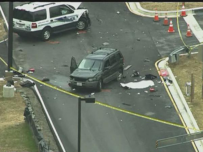 The car that tried to ram the gates at Fort Meade. (Screengrab via WUSA)