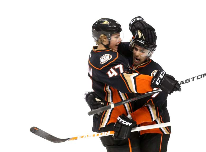 Andrew Cogliano and Hampus Lindholm celebrating after a goal against the Detroit Red Wings. (Getty)