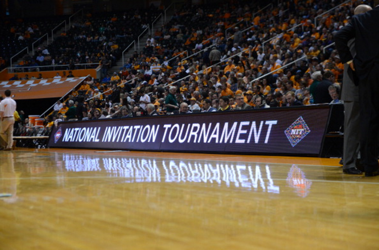 The NIT title and Logo on the court sign during the tournament matchup between the Mercer Bears and the Tennessee Volunteers in the first round of the NIT at Thompson-Boling Arena in Knoxville, TN. (Getty)
