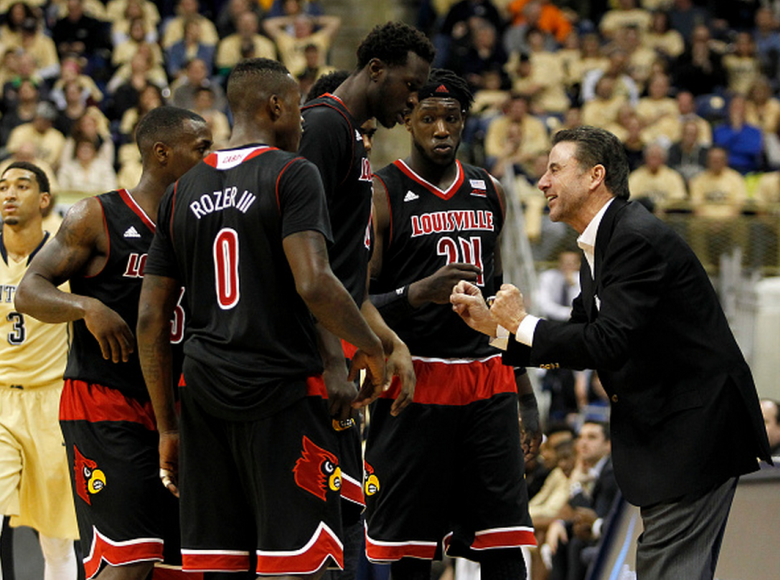Head coach Rick Pitino of the Louisville Cardinals coaches against the Pittsburgh Panthers during the game at Petersen Events Center on January 25, 2014 in Pittsburgh, Pennsylvania. (Getty)