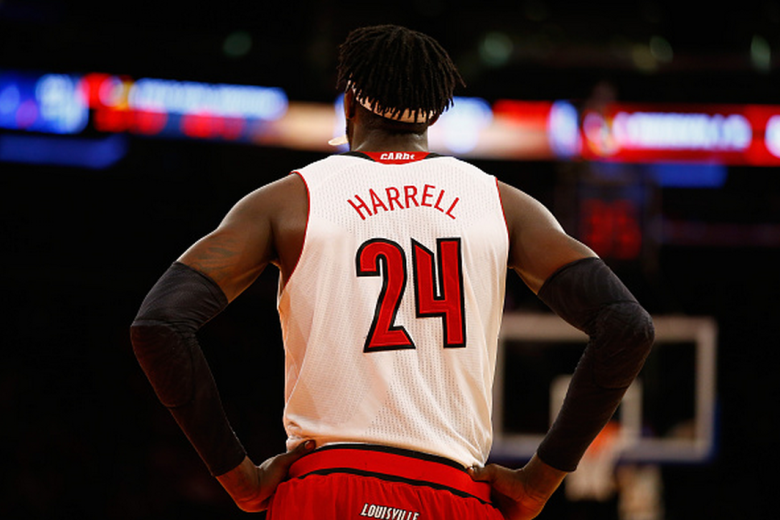 Montrezl Harrell #24 of the Louisville Cardinals looks on against Indiana Hoosiers during their game at the Jimmy V Classic in Madison Square Garden on December 9, 2014 in New York City. (Getty)