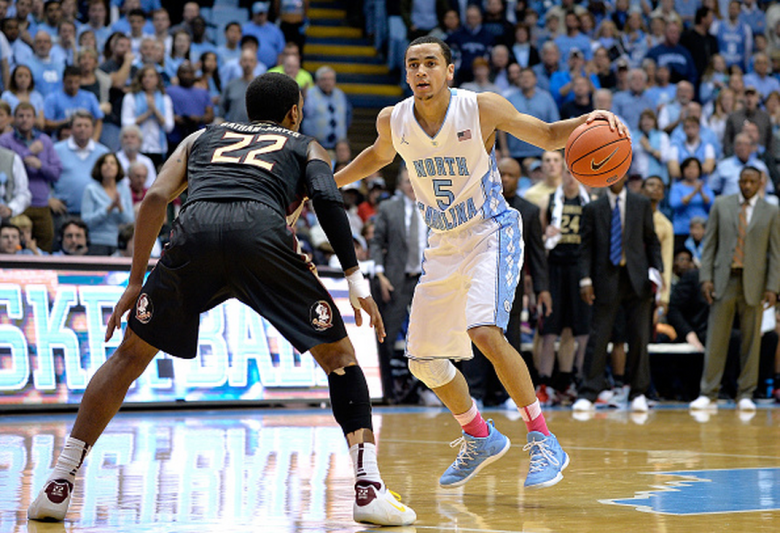Xavier Rathan-Mayes #22 of the Florida State Seminoles defends Marcus Paige #5 of the North Carolina Tar Heels during their game at the Dean Smith Center on January 24, 2015 in Chapel Hill, North Carolina. North Carolina won 78-74. (Getty)