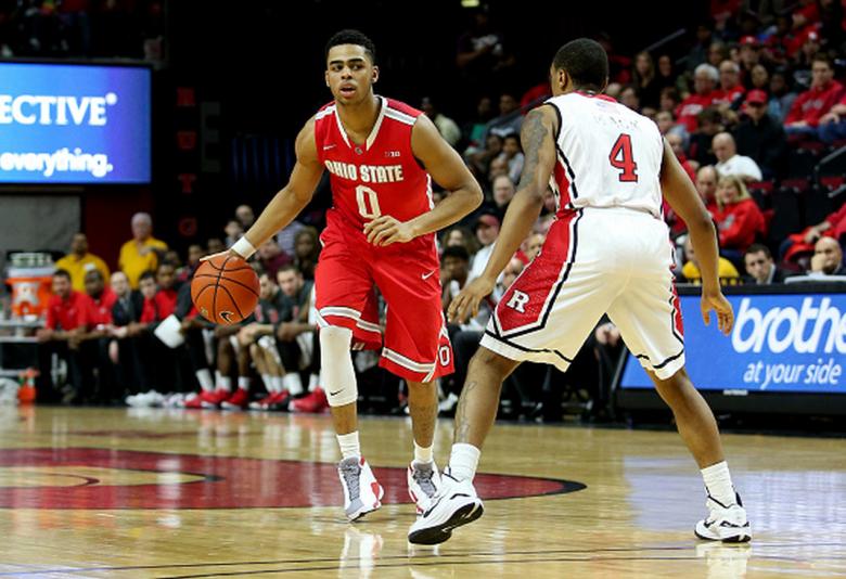 D'Angelo Russell #0 of the Ohio State Buckeyes against Myles Mack #4 of the Rutgers Scarlet Knights during their Big Ten conference game at Rutgers Athletic Center on February 8, 2015 in Piscataway, New Jersey. (Getty)