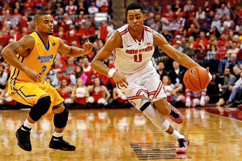 D'Angelo Russell #0 of the Ohio State Buckeyes drives the ball past Corban Collins #3 of the Morehead State Eagles during the second half at Value City Arena on December 13, 2014 in Columbus, Ohio. Ohio State defeated Morhead State 87-71. (Getty)