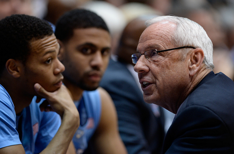 North Carolina Tar Heels coach Roy Williams talks to his team during their game against the Duke Blue Devils at Cameron Indoor Stadium on February 18, 2015 in Durham, North Carolina. (Getty)