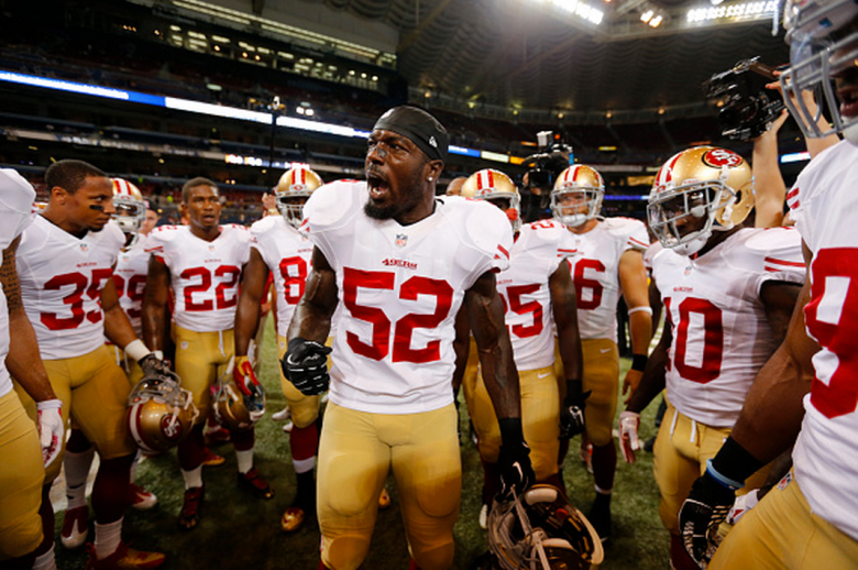 Patrick Willis #52 of the San Francisco 49ers fires up the team on the field prior to the game against the St. Louis Rams at the Edward Jones Dome on October 13, 2014 in St. Louis, Missouri. The 49ers defeated the Rams 31-17. (Getty)