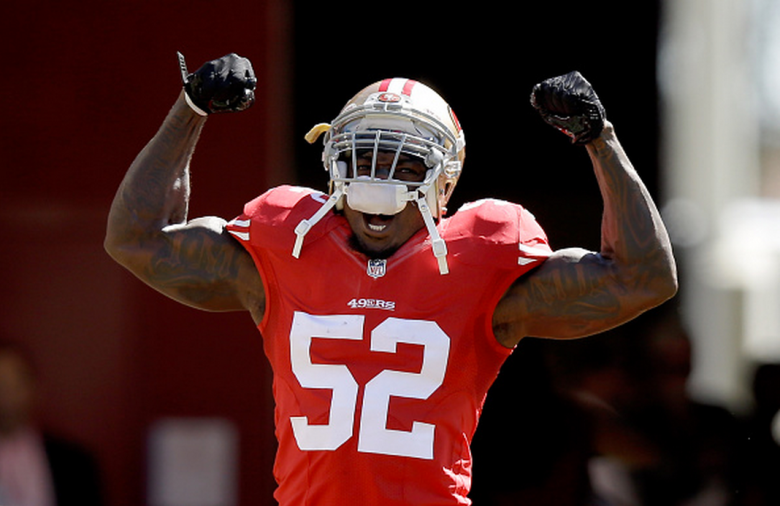 Patrick Willis #52 of the San Francisco 49ers runs onto the field during player introductions for their game against the Kansas City Chiefs at Levi's Stadium on October 5, 2014 in Santa Clara, California. (Getty)
