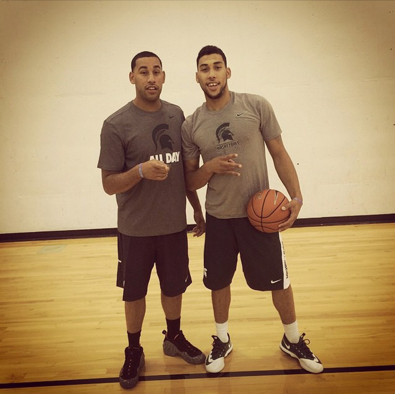 "Michigan State guard Denzel Valentine posted this photo with the caption: ""This dude has got me so much better over the summer! He has been there anytime i want to shoot,lift,or anything that has to do with getting me better! He gives me advice when i need it, pointers on how to get through things! Im blessed to have this guy in my life! @dval15 #eac"" (Instagram/denzelval45)"