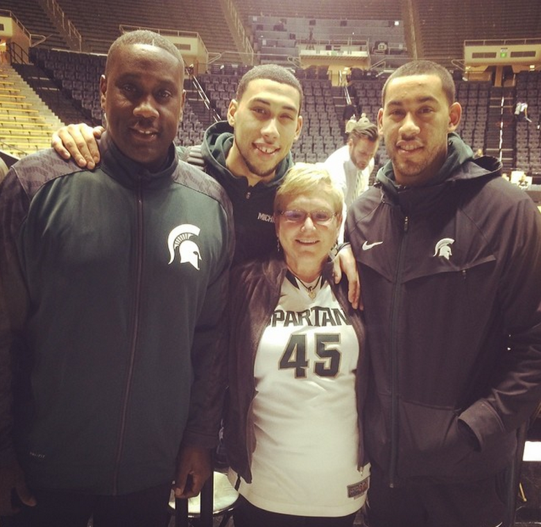 "Michigan State guard Denzel Valentine posted this photo with the caption: ""Me and the fam after the game #blessed"" (Instagram/denzelval45)"