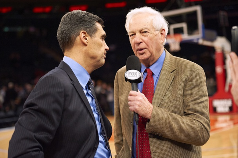 Fox Sports analyst Bill Raftery (R) during interview with Villanova coach Jay Wright after game vs St. John's at Madison Square Garden. New York, NY 1/6/2015 CREDIT: Porter Binks (Getty)