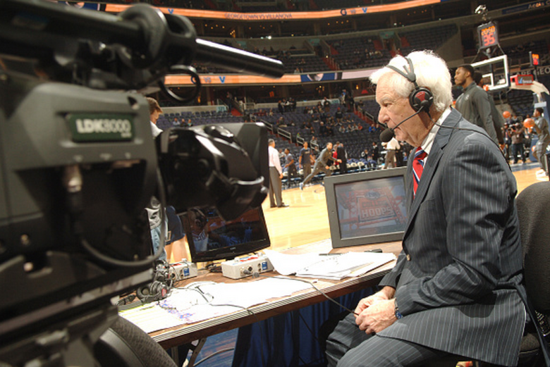 Fox announcer Bill Raftery talks on the air before a college basketball game against the Villanova Wildcats at the Verizon Center on January 19, 2015 in Washington, DC. The Hoyas won 78-58. (Getty)